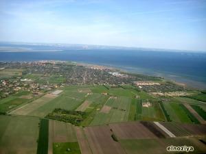 Vista desde el avión del estrecho de Oresund