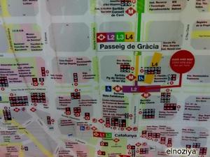 Plano de transporte en el Passeig de Gracia